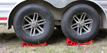 The Andersen Camper Leveling Kit Shown with a Trailer