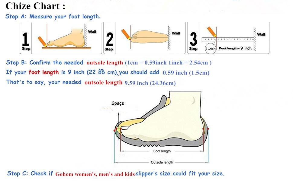 women slippers size chart