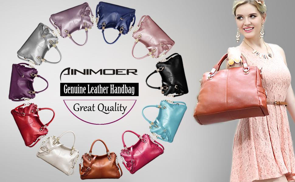 1df08b7260 AINIMOER Vintage Genuine Leather Tote Shoulder Bag Crossbody Handbag   classicism