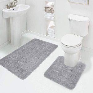 XinYiQu 2 Piece Bath Rug Set Cobblestone Bathroom Carpet Rugs Combo Non-Slip Toilet Mat 19.68x31.49/&19.68x15.74 Black