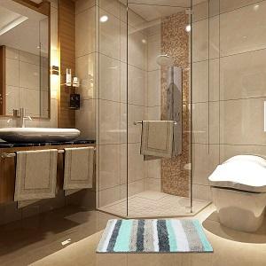 bathroom rug blue grey