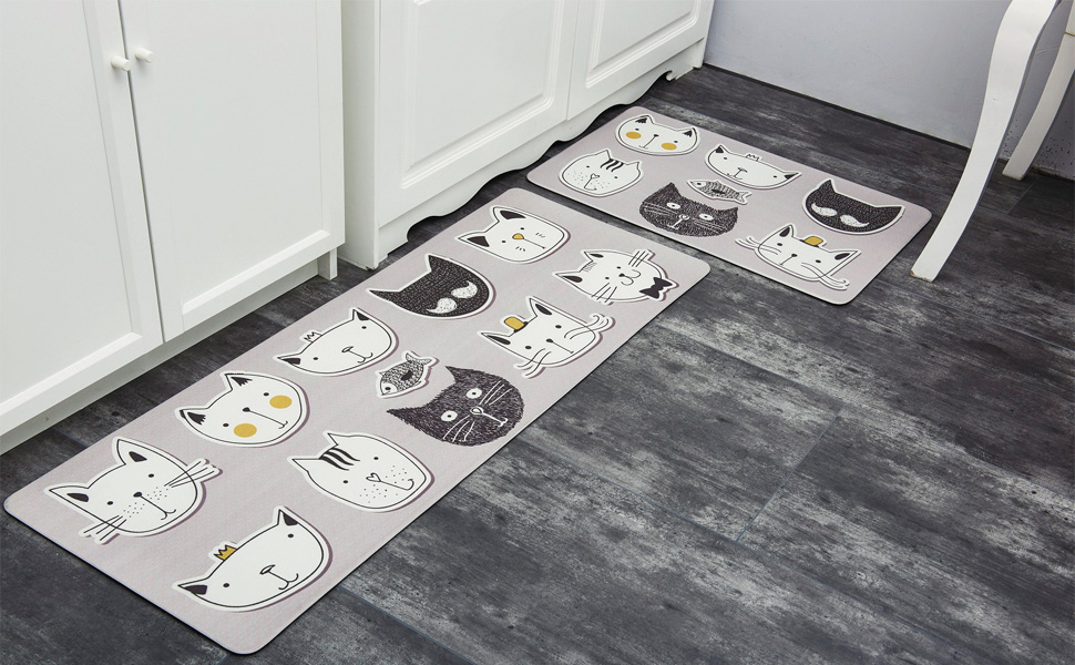 Amazon.com: HEBE Anti Fatigue Kitchen Rug Set 2 Pieces Non