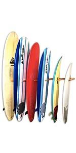 surfboard vertical wall storage floor stand rack organizer display retail surf shop wood rack best