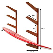 timber surfboard wall rack mount storage shortboard longboard fish funshape display organizer shelf