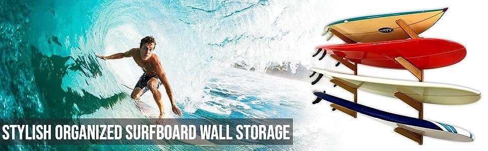timber surfboard wall storage rack mount shelves 4 shortboards longboards indoor home garage retail