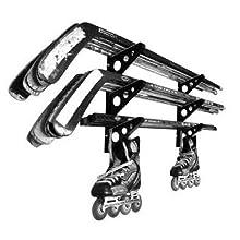 hockey stick wall rack storage hanger holder organizer three triple skates roller ice street garage