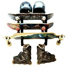 skateboard deck wall storage rack mount longboard helmet roller blades multi three 3 shelves levels