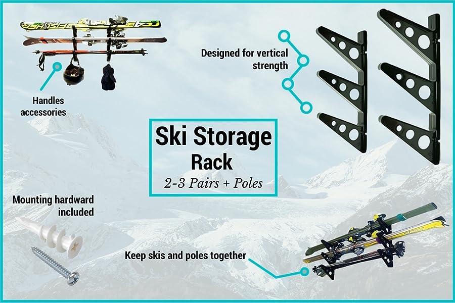 Rack Dimensions Length u003d16.5u201d and each rung of the rack is 6.5u201c long.  sc 1 st  Amazon.com & Amazon.com: Ski Storage Rack | Horizontal Wall Rack | StoreYourBoard ...