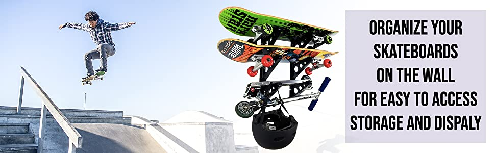 storeyourboard skateboard wall storage rack mount hanger three triple deck garage home apartment ABS