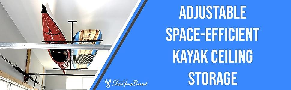 kayak ceiling storage rack garage mount adjustable metal padded T shape bracket holder organizer pin
