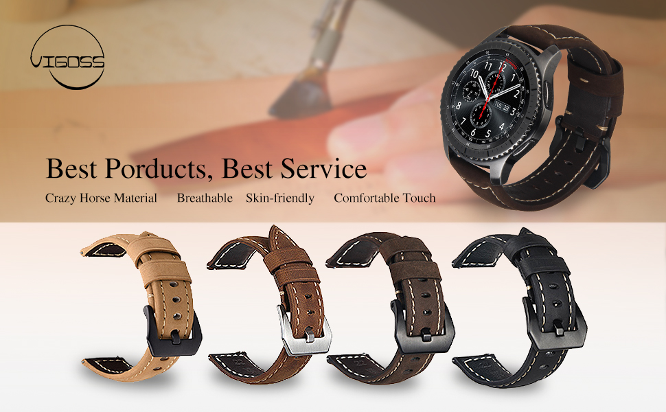vigoss for gear s3 frontier classic band galaxy watch 46mm band 22mm premium. Black Bedroom Furniture Sets. Home Design Ideas