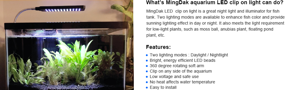 amazon com mingdak aquarium light for fish tanks clip on fish tank