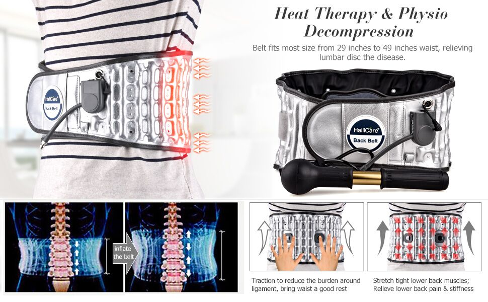 HailiCare Heat Therapy, Physio Decompression 2 in 1 Back Brace - Lower Back  Pain Relief Lumbar