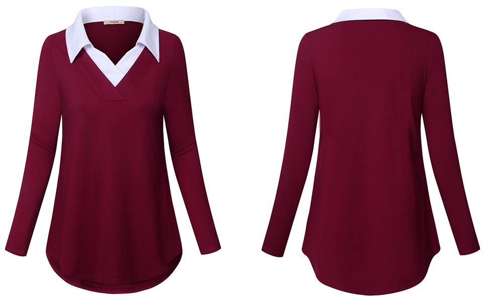 Women tunics sweaters chiffon v neck tunics blouses shirt tops for leggings casual business work