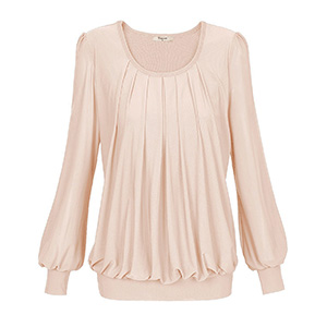 Timeson Women S Long Sleeve Scoop Neck Pleated Front Fitted Blouse