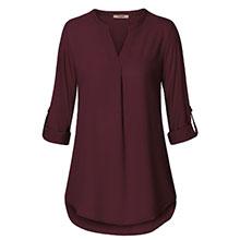 chiffon blouses tunics shirts 3/4 sleeve tops for leggings