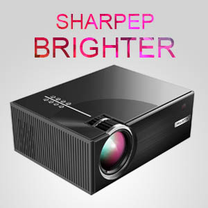projector right view, text on the top: sharpep brighter