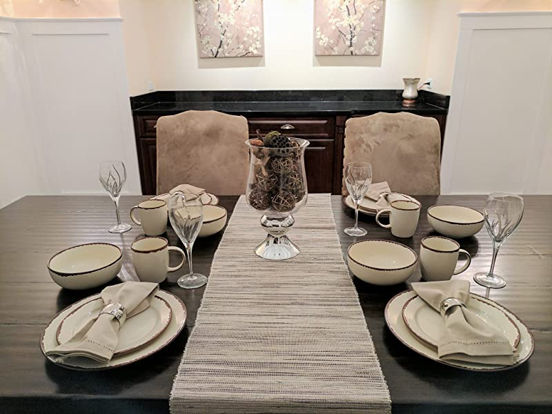 Amazon Com Gianna S Home 16 Piece Rustic Farmhouse Country Stoneware Distressed Dinnerware Set