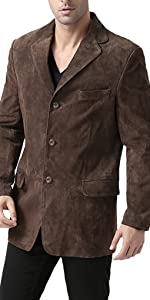 BGSD Men's Robert 3-Button Suede Leather Blazer