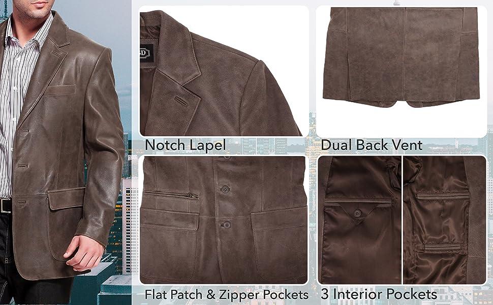 BGSD Men's Mark 3-Button Distressed Cowhide Leather Blazer