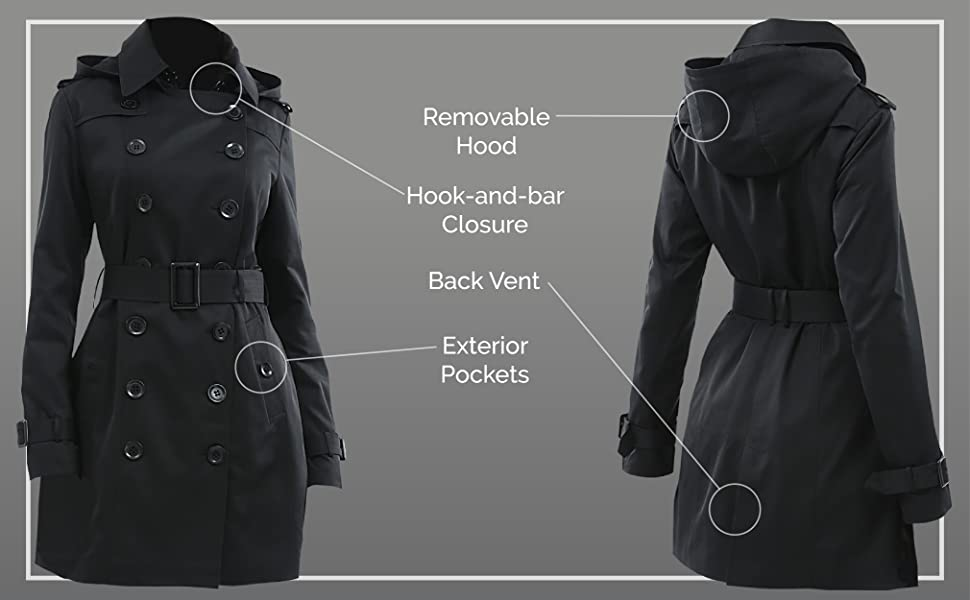 fea8738d25 Amazon.com: BGSD Women's Madison Hooded Waterproof Mid Length Trench ...