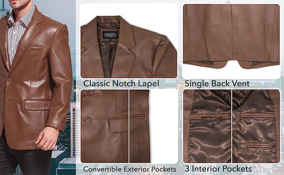 Regular Big /& Tall and Short BGSD Mens Richard Classic 2-Button Lambskin Leather Blazer