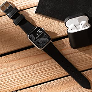 Modern Strap Black Leather Silver Hardware