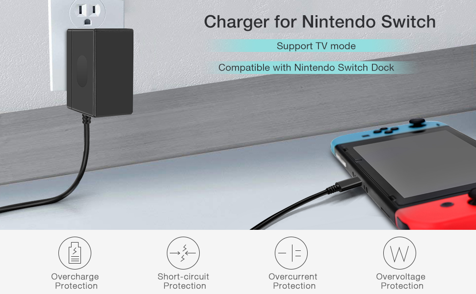 Charger for Nintendo Switch and Nintendo Switch Lite 2019, Portable AC Adapter with 5ft Power Cord for Nintendo Switch Dock/Pro Controller, Support TV ...