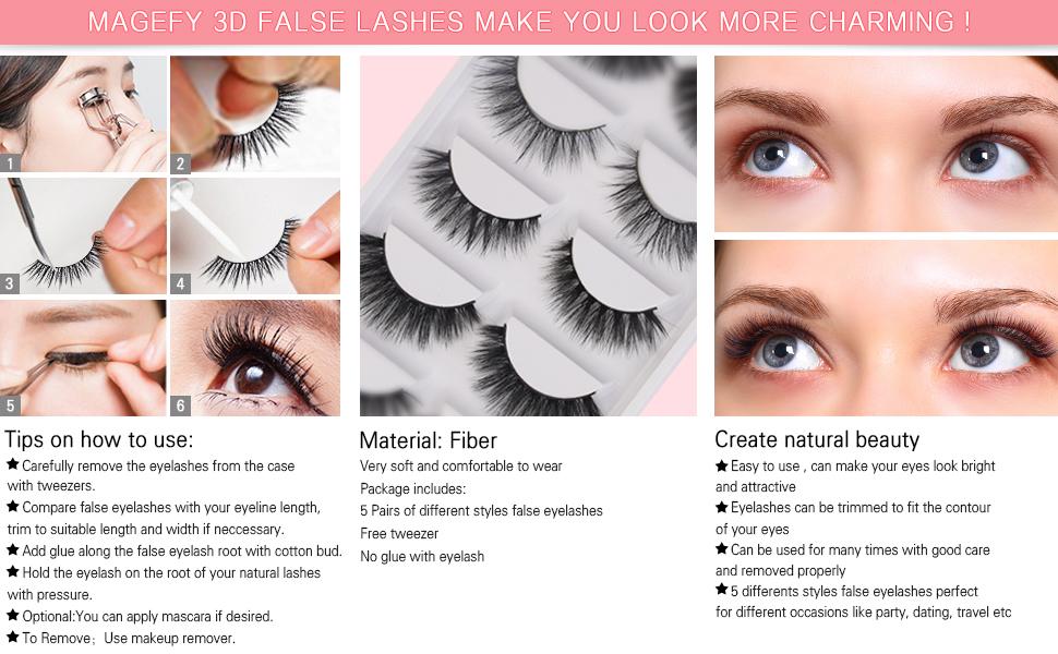 Amazon Magefy 5 Pairs Fake Eyelashes Reusable 3d Handmade False