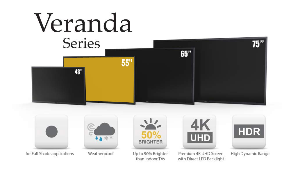 Veranda TV sizes