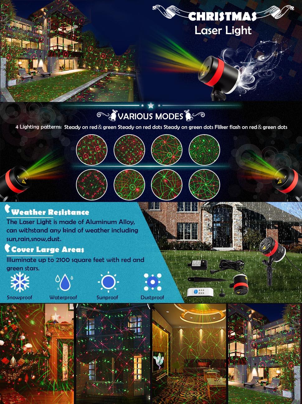 Amazon.com: SKONYON Christmas Laser Lishts Outdoor Star Lights ...