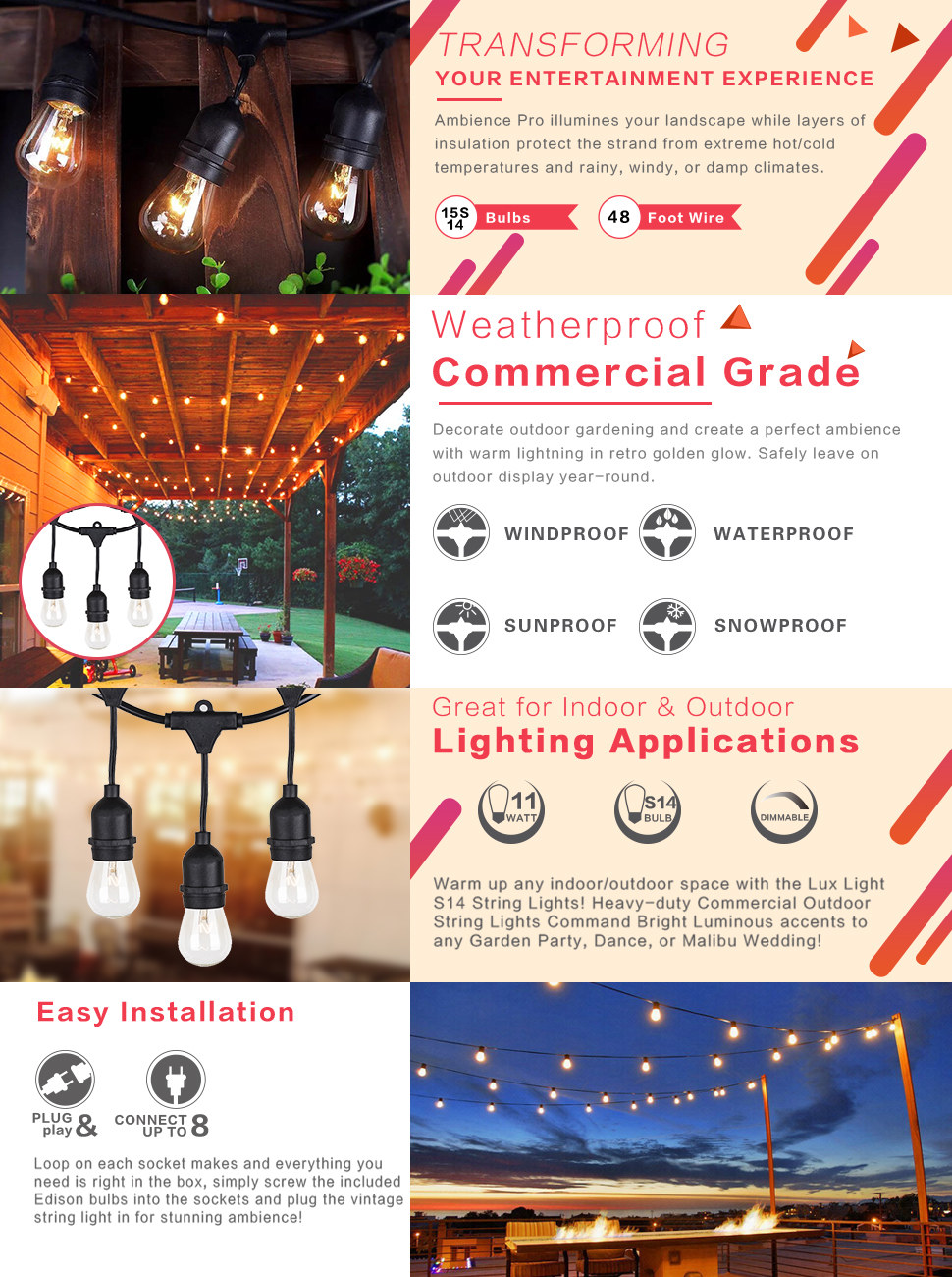Skonyon Outdoor String Lights 48 Ft With Wiring Up An Socket Product Description