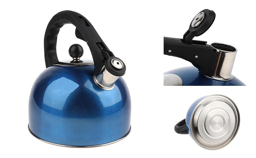 Jannyshop-123 Hervidor de Agua con Silbato Tetera de Acero Inoxidable con Mango Ergon/ómico Tetera con Silbido para Cocinas de Inducci/ón Estufas de Gas