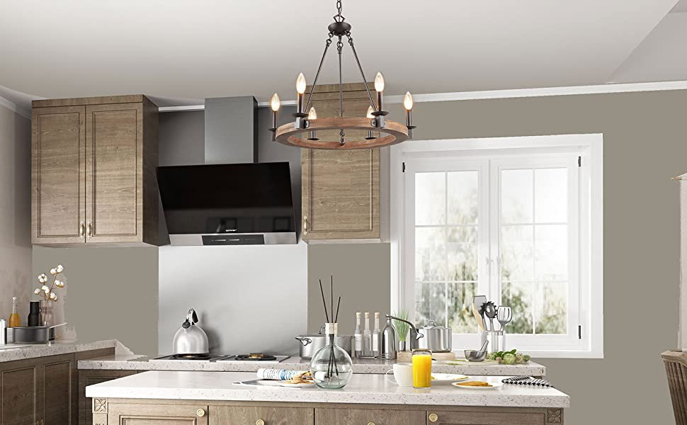 LNC Farmhouse Chandeliers for Dining Rooms,Vintage Wood Kitchen Lighting,  A03300