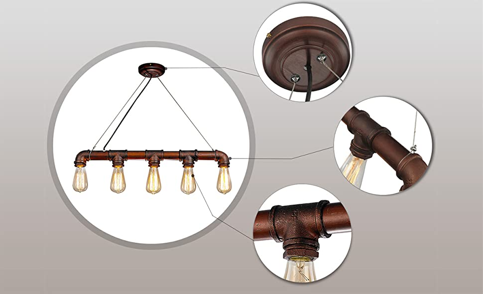 Lnc Pipe Pendant Lights Industrial Kitchen Island Lighting