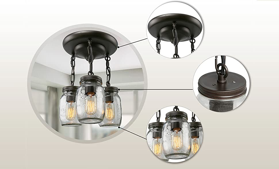 LNC Glass Pendant Lighting 3-light Mason Jar Ceiling