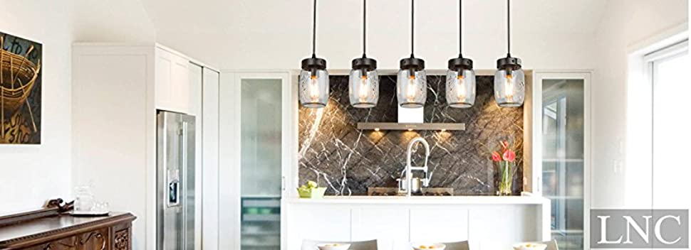 LNC 5 Glass Mason Jar Kitchen Island Lighting Multi Pendant Chandelier Wood Canopy, Brown Hanging Pendant Lights