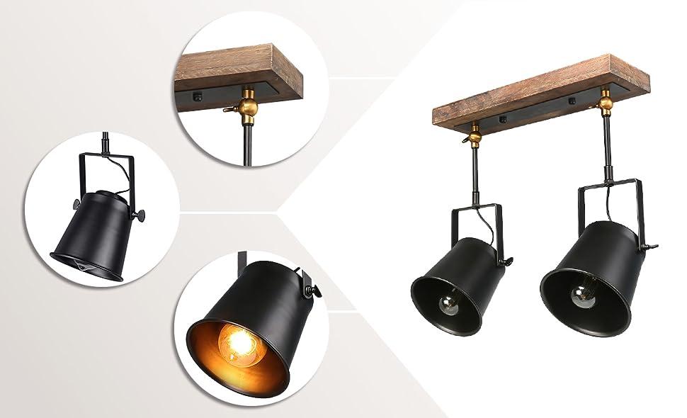 Specification  sc 1 st  Amazon.com & LNC Wood Close to Ceiling Track Lighting Spotlights 2-Light Track ... azcodes.com