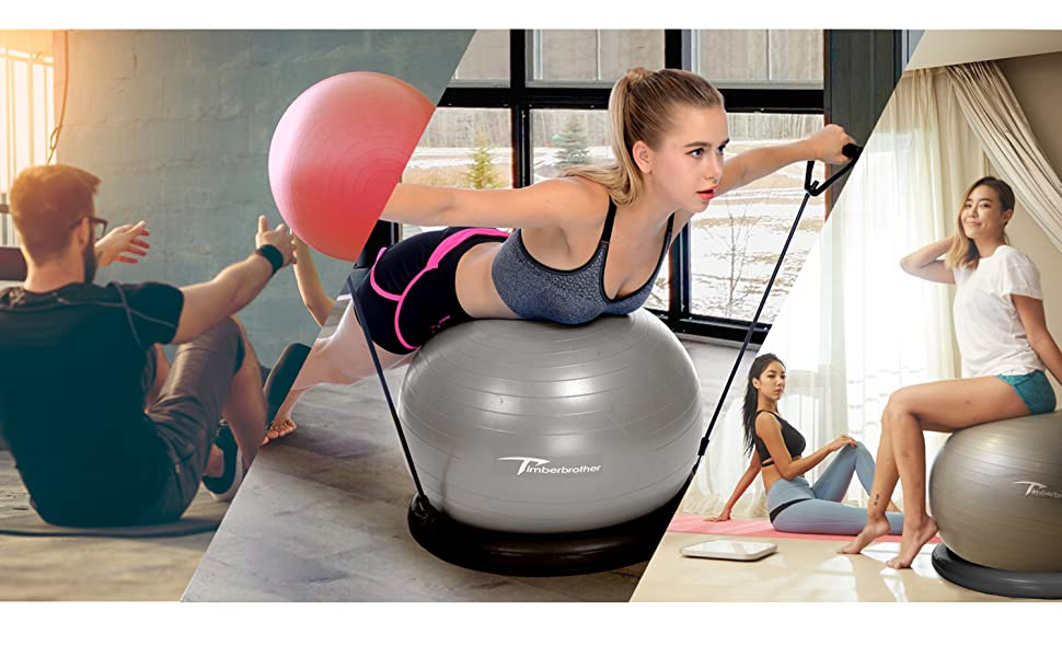 """Timberbrother Exercise Ball Chairs with Resistance Bands Workout Poster 16.5/""""x 22.4/"""",Stability Ball Base for Gym and Home Exercise"""