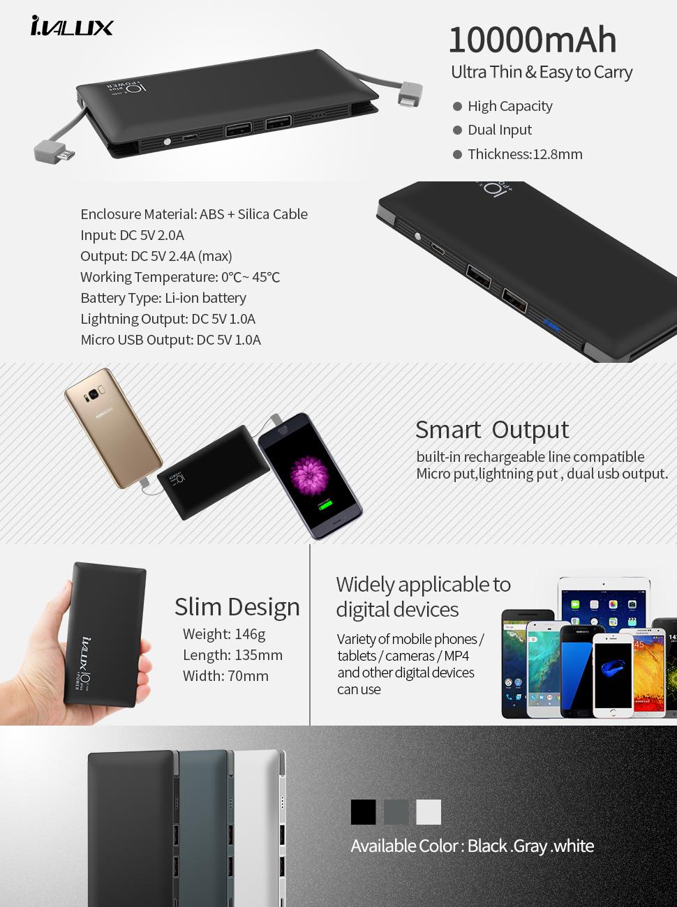 Product Description Amazoncom iVALUX 10000mAh Super Slim