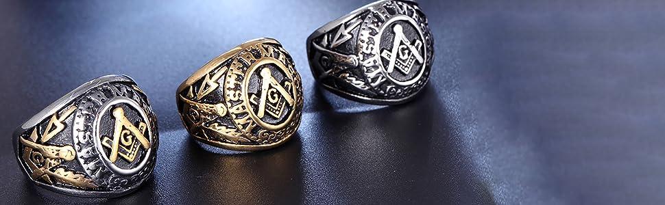 Masonic ring for men women freemason religious ring