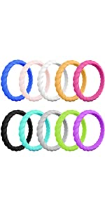 braided geometric silicone rings for women