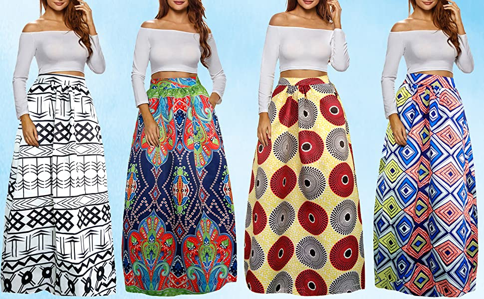 9659dc2c0b Stretch Waist Flared Skirt · African Print Pleated Skirt · Chiffon Floral High  Waist Skirt · A Line Button Front Skirt