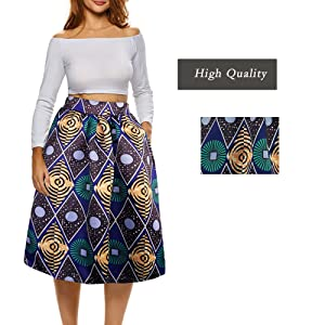 dd7085641c8 Afibi African Print Skirts for Women Boho Plus Size Flare Pleated ...