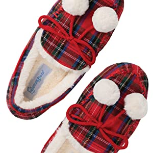 Buffalo Plaid Knitted Slippers Adult Red Checkered Slippers Knitted Slippers women/'s US 8-10 ready to ship