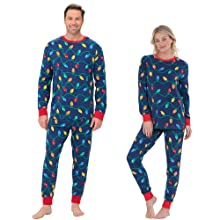 Man and woman wearing matching Christmas pajamas