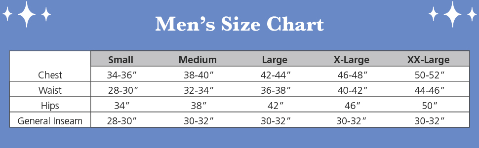 pjs for men size chart