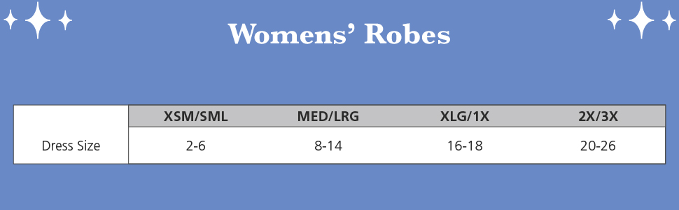 size chart for women's robes soft robes for women