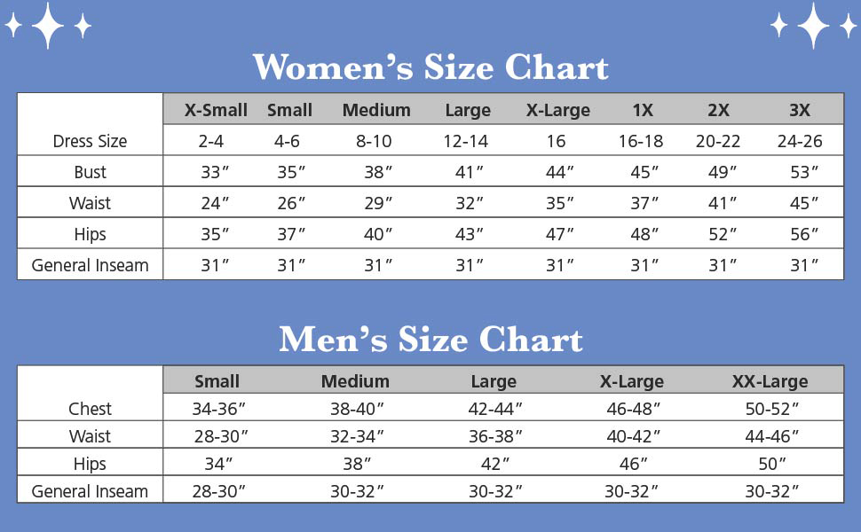 women's and men's size charts