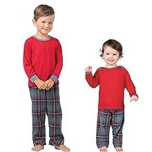 toddler and baby wearing pajamas